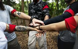 Outdoor team orienteering activity togetherness Royalty Free Stock Photography