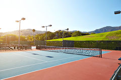 Outdoor tennis court with nobody in Malibu. California Stock Image