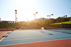 Outdoor tennis court with nobody in Malibu. California Royalty Free Stock Photography