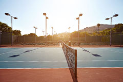 Outdoor tennis court with nobody in Malibu. California Stock Photo