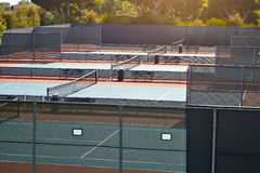 Outdoor tennis court with nobody in Malibu. California Royalty Free Stock Image