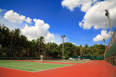Outdoor tennis courts against blue sky royalty free stock photos