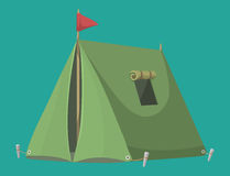 Outdoor tent vector illustration nature leisure travel activity adventure tourism forest campsite shelter. Royalty Free Stock Image