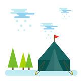 Outdoor tent vector illustration nature leisure travel activity camping camp adventure tourism hiking vacation forest Royalty Free Stock Photo