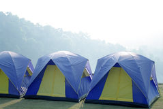 Outdoor tents camping in the beautiful mountain. Outdoor sleeping tents in the beautiful mountain view Royalty Free Stock Photos