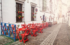 Outdoor terrace in andalusia Stock Image