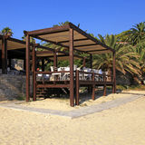 Outdoor terrace cafe on sand beach Royalty Free Stock Photography