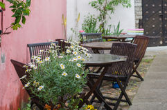 Outdoor terrace on courtyard royalty free stock image