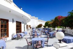 The outdoor terrace at luxury hotel Royalty Free Stock Photo