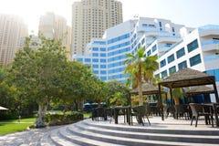 The outdoor terrace at luxury hotel. Dubai, UAE Stock Image