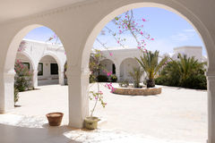 Outdoor Terrace with Pink Bougainvillea Flowers, Djerba Museum, Tunisia Stock Photography