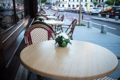 Outdoor terrace of restaurant in the street Stock Photos