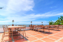Outdoor terrace with sea view Stock Image