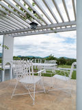 Outdoor terrace with seating Royalty Free Stock Photo