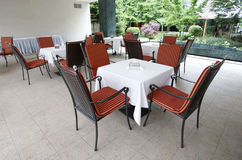 Outdoor terrace. With tables and chairs royalty free stock images