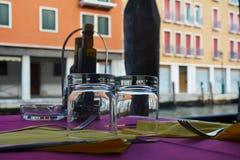 Outdoor terrace, Venice city, Italy Stock Image