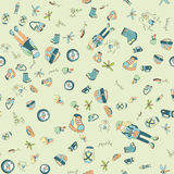 Outdoor theme seamless pattern. Two backpackers, tent, campfire and a variety of camping equipment. stock illustration