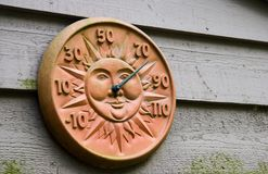 Outdoor Thermometer. On the Outside Wall Royalty Free Stock Photography