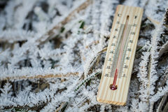 Outdoor thermometer. In the cold Stock Image