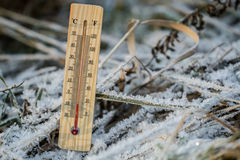 Outdoor thermometer. In the cold Royalty Free Stock Photos
