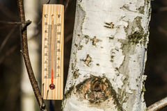 Outdoor thermometer. In the cold Stock Photos