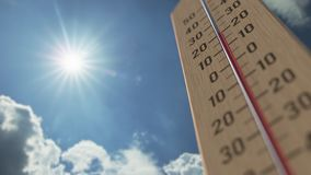 Outdoor thermometer reaches 35 thirty-five degrees centigrade. Weather forecast related 3D animation. Thermometer close-up. Weather forecast related 3D stock illustration