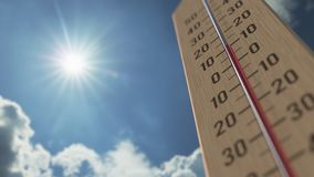 Outdoor thermometer reaches 25 twenty-five degrees centigrade. Weather forecast related 3D animation royalty free illustration