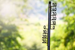 Outdoor thermometer showing 36 degrees Celsius stock photography