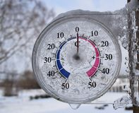 Outdoor thermometer shows temperature royalty free stock photography