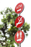 Outdoor three red sign direction Royalty Free Stock Photos