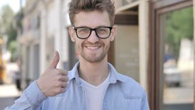 Outdoor Thumbs Up by Casual Young Man stock footage