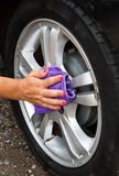 Outdoor tire car wash with  sponge Stock Photography