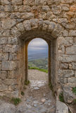 Outdoor to landscape. The medieval castle. Summer in France. Languedoc royalty free stock photos
