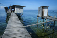 Outdoor toilet stilt house mabul island borneo Royalty Free Stock Photos