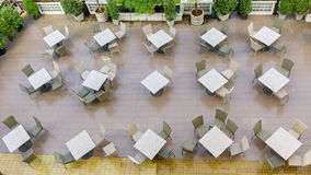 Outdoor top view of the empty chairs and table Stock Image