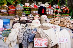 Outdoor tourist market in Madeira Island. Outdoor tourist market of traditional warm clothes in Madeira Island Stock Photo