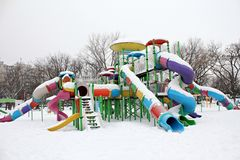 Outdoor toys - winter in the park Stock Photos