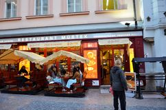 Outdoor of a traditional Czech food restaurant in the city of Prague Royalty Free Stock Images