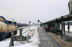 Outdoor Train Station in Winter. A wintry view of the outdoor train station at Frederikshavn in Jutland, Denmark Stock Image