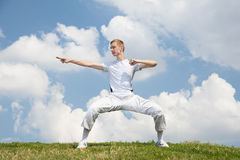 Outdoor training. Young man exercises tai chi routine Stock Images