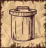 Outdoor trash bin  on vintage background Stock Photos