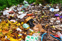 Outdoor Trash. Last place for garbage disposal, garbage collection, household disposal, Outdoor Trash Royalty Free Stock Images