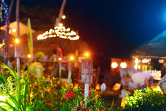 Outdoor tropical restaurant in night lights Stock Images