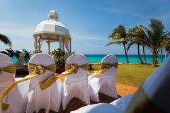 Outdoor tropical wedding venue stock photos