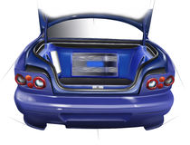 Outdoor trunk sports car. Layout of the acoustic setup. Illustration. Royalty Free Stock Photo