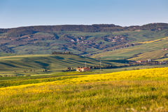 Outdoor Tuscan Val d Orcia green and yellow hills Royalty Free Stock Photos