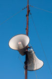 Outdoor tweeter. Loudspeaker against the blue sky Royalty Free Stock Images