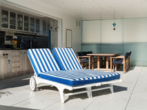 Outdoor, two sunbed. Architecture,  terrace of a penthouse, two sunbed outside Royalty Free Stock Photos