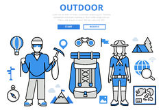 Outdoor vacation hiking concept flat line art vector icons Royalty Free Stock Photography