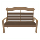 Outdoor vector classic street urban bench wooden style. Park city object isolated on white background. A vintage place to relax Stock Images